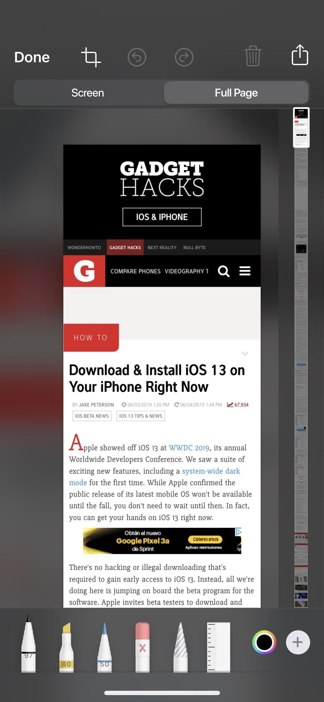 How to Take Scrolling Screenshots of Entire Webpages in iOS