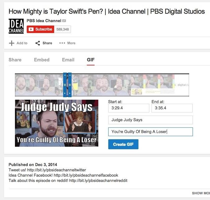 You Can Now Create & Share GIFs Directly from YouTube Videos