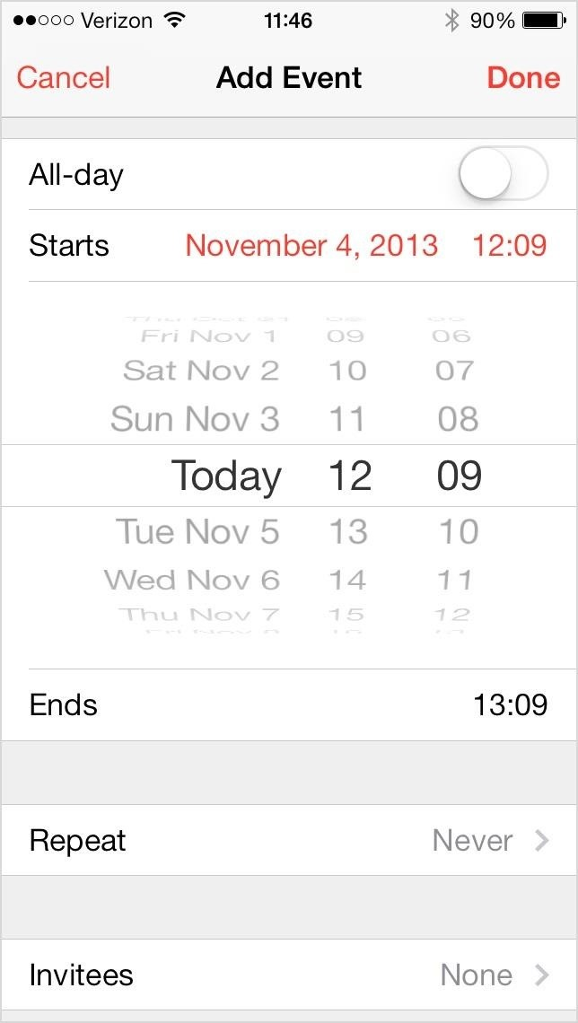 How to Increase Time Increments from 1 to 5 Minutes in the iOS 7 Calendar App