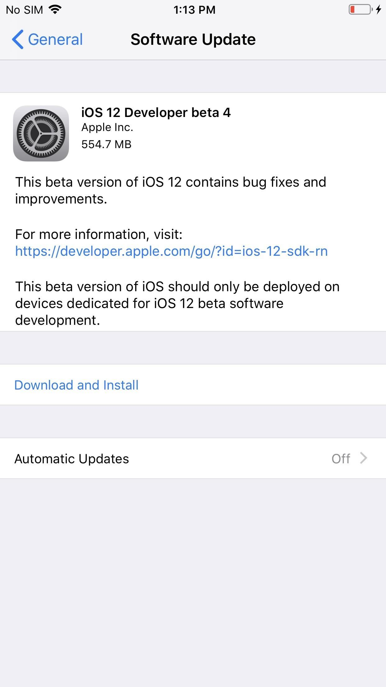 iOS 12 Beta 4 for iPhone for Developers