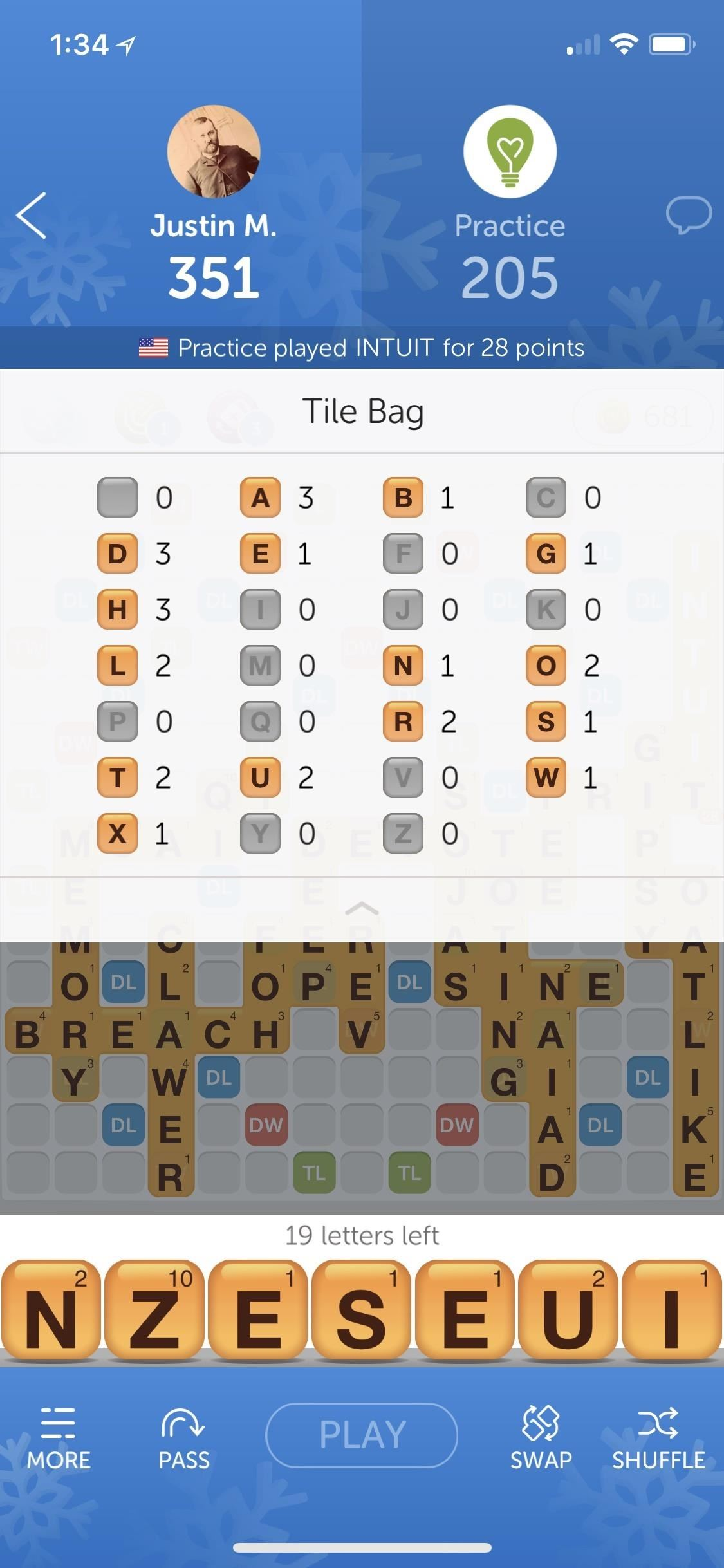 How to score in words with friends with the remaining Tiles Bag