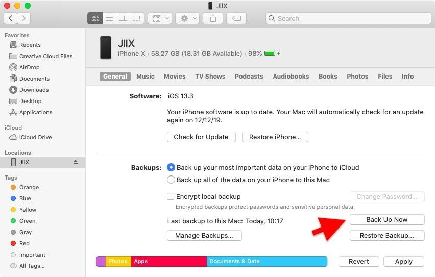 How to restore your iPhone to a backup or to factory settings using the Finder in macOS Catalina