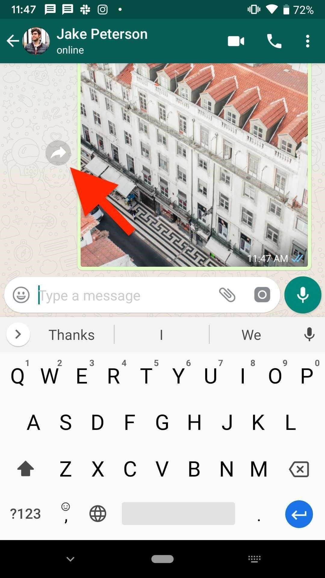 Forwarding WhatsApp messages and attachments to other contacts