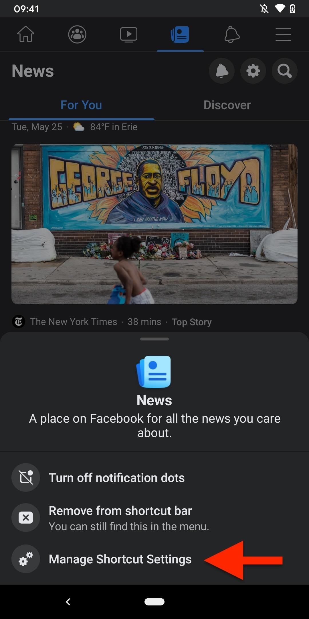 Clean unwanted tabs and alerts from Facebook navigation bar to delete store, groups, news, viewing and notification points