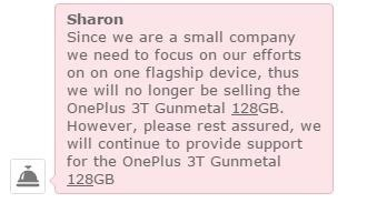 OnePlus 3T 128 GB May Be Discontinued