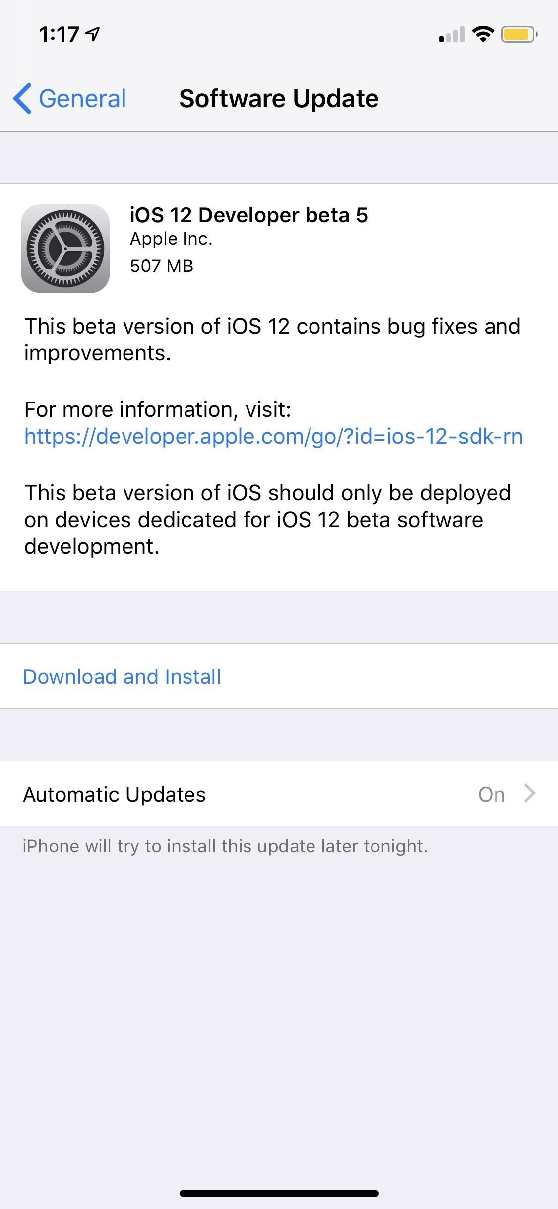iOS 12 Beta 5 for iPhones Released to Apple Developers