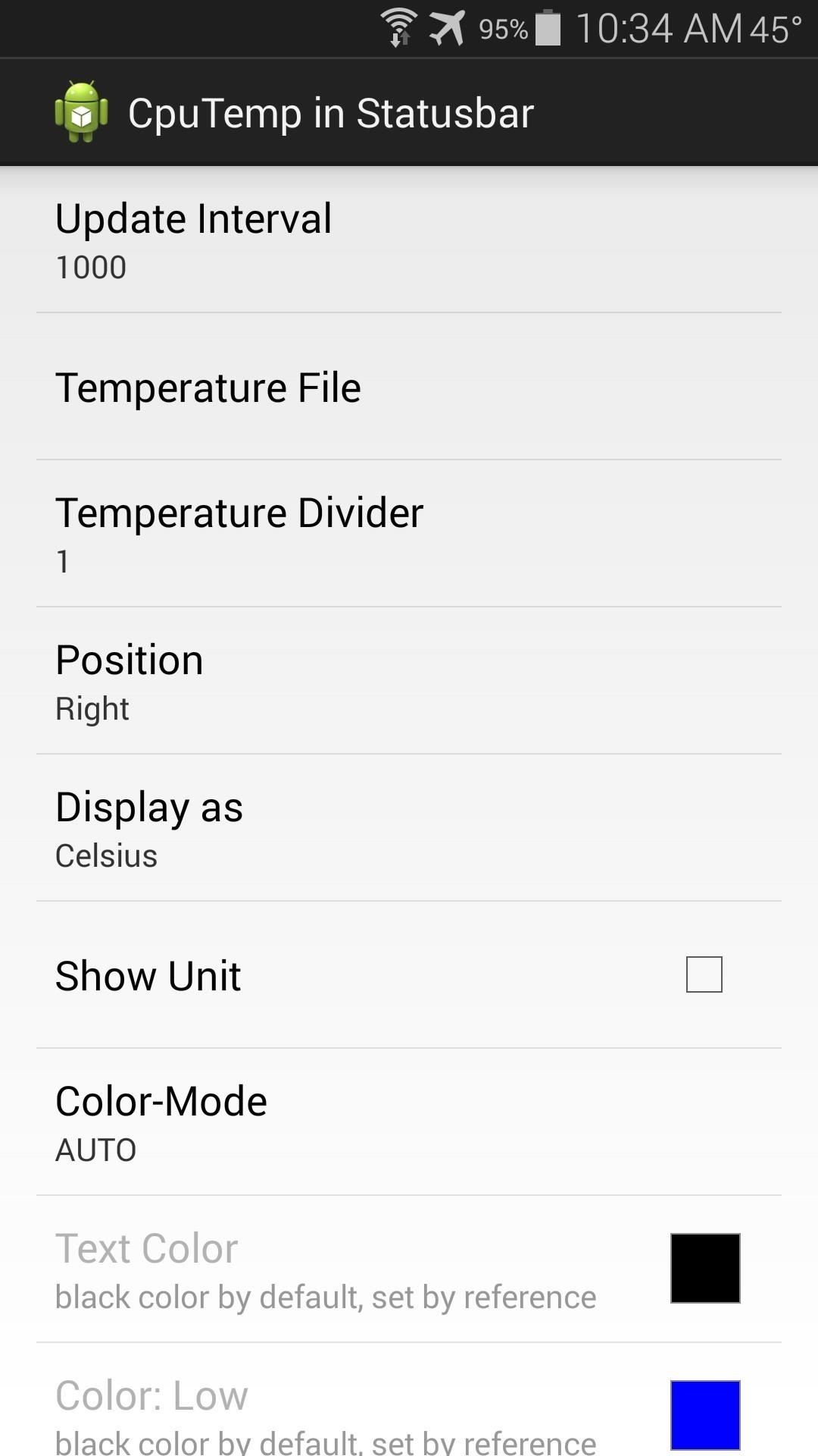Monitor CPU Temperature from Android's Status Bar