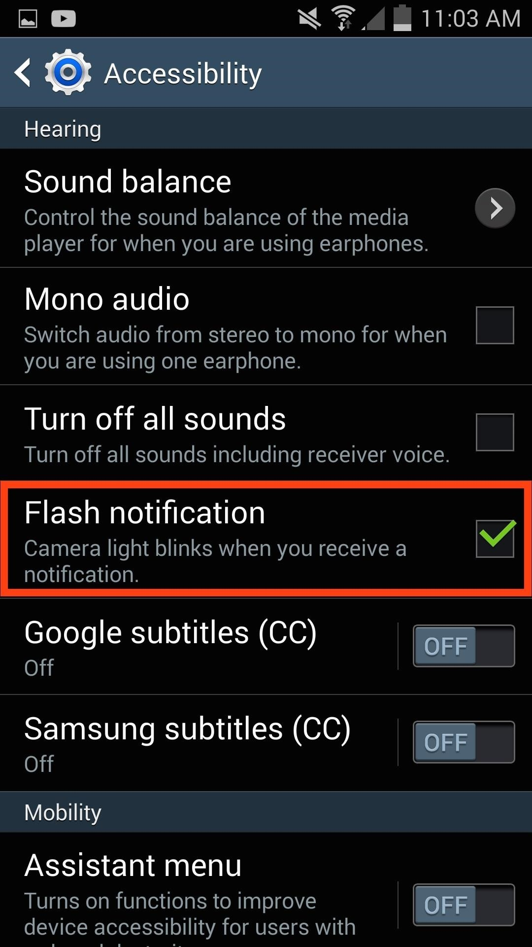 Enable LED Flash Alerts for Calls & Notifications on Galaxy Devices