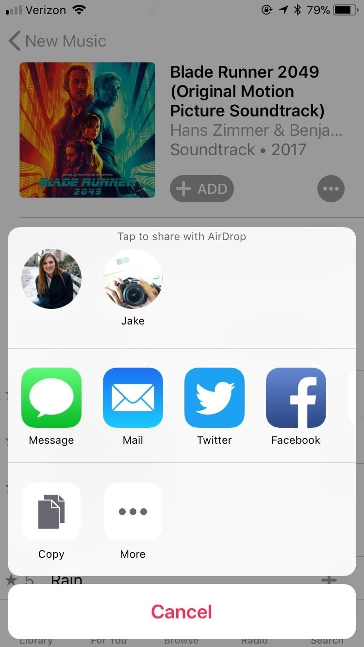 How to share songs from apple music using airdrop in ios 11 ios if you are already playing a song sharing is just as simple just tap the button in the bottom right corner of the display and the same options menu ccuart Images
