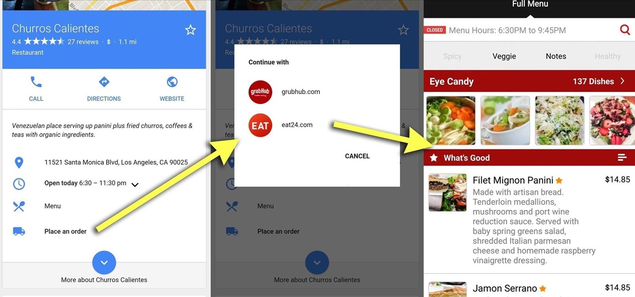 Order Food Directly from Google Search on Android & iOS