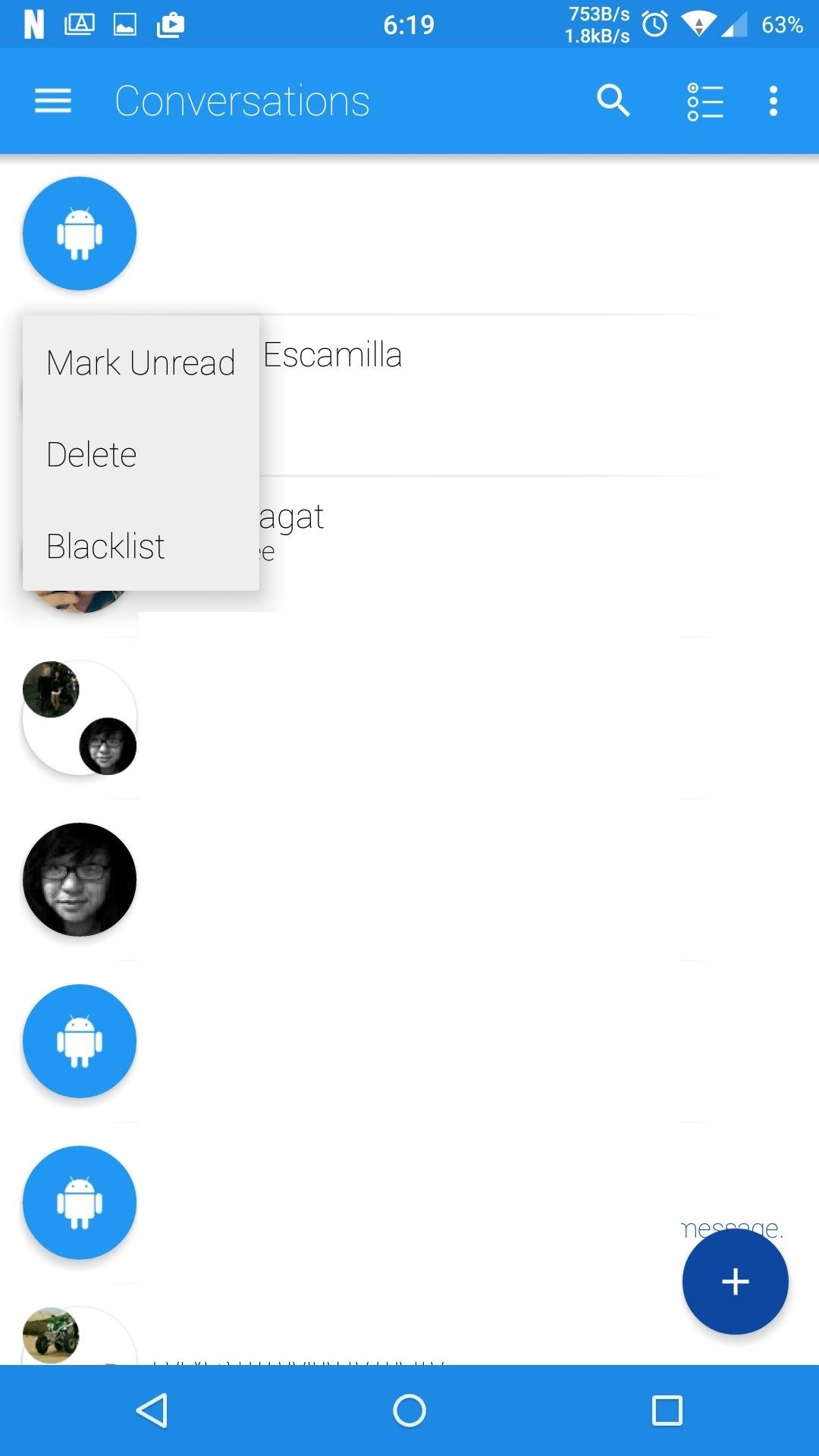 android lollipop stock messaging app