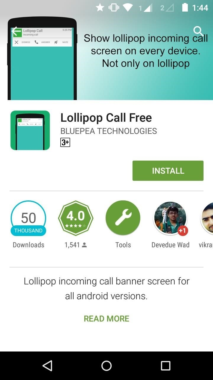 How to Get Lollipop Style Incoming Call Banner in Android Versions Lower Than Android Lollipop