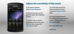 Adjust touch screen sensitivity on a BlackBerry Storm phone