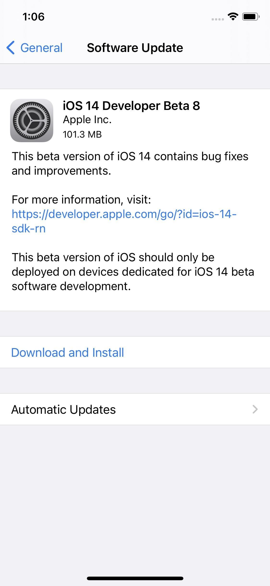 Apple Releases iOS 14 Developer Beta 8 for iPhone