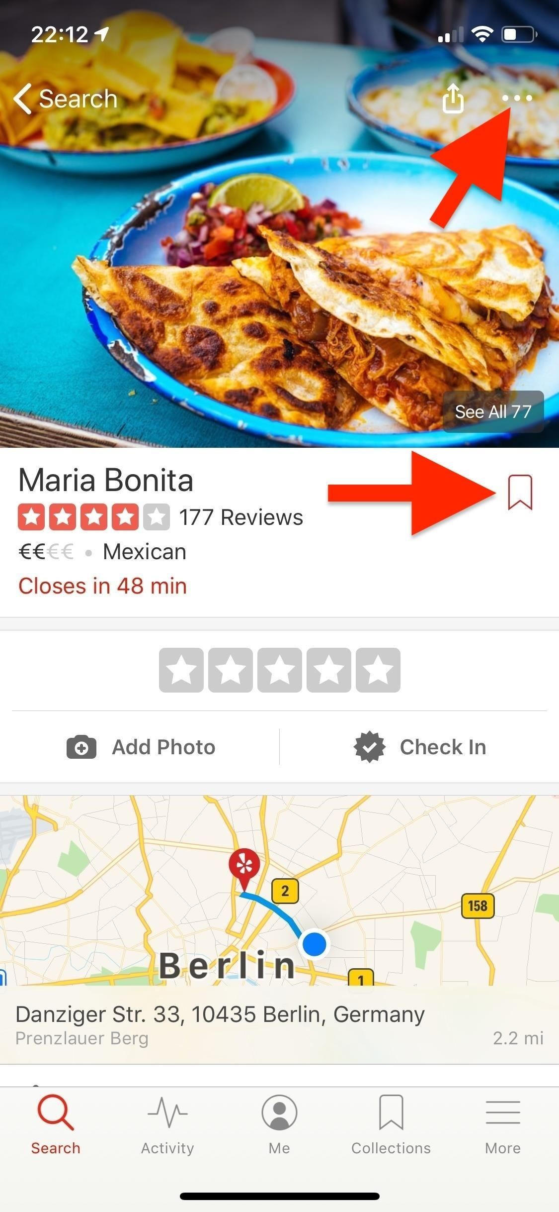 Use Yelp Collections to find new places and save your bookmarked locations More Organized