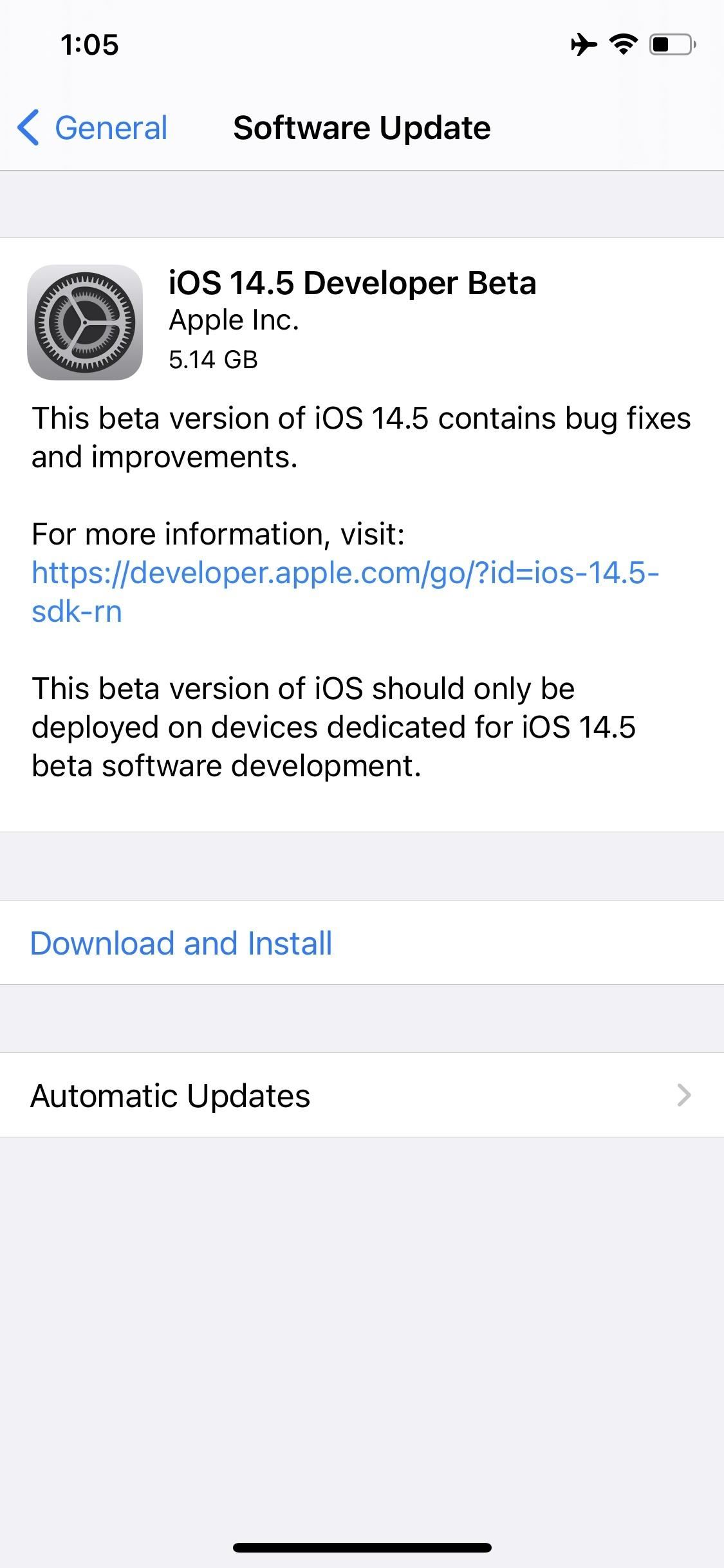 Apple Releases First iOS 14.5 Developer Beta for iPhone, Introduces Redesigned 'Software Update' Screen