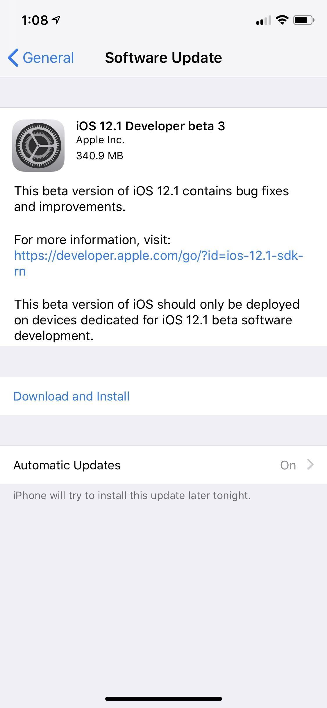 Apple released iOS 12.1 Beta 3 to developer