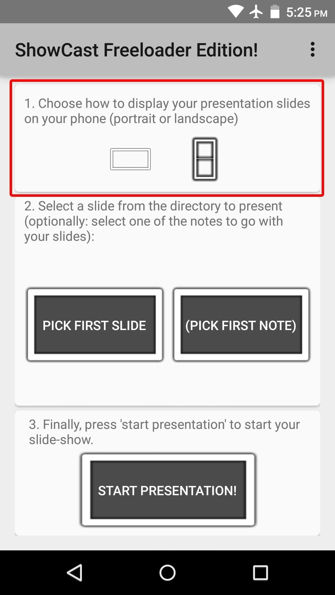 use your chromecast to make powerpoint presentations from your next it s time to load up your powerpoint slides they ll have to be stored locally on your android device and they ll need to be either jpg or png files