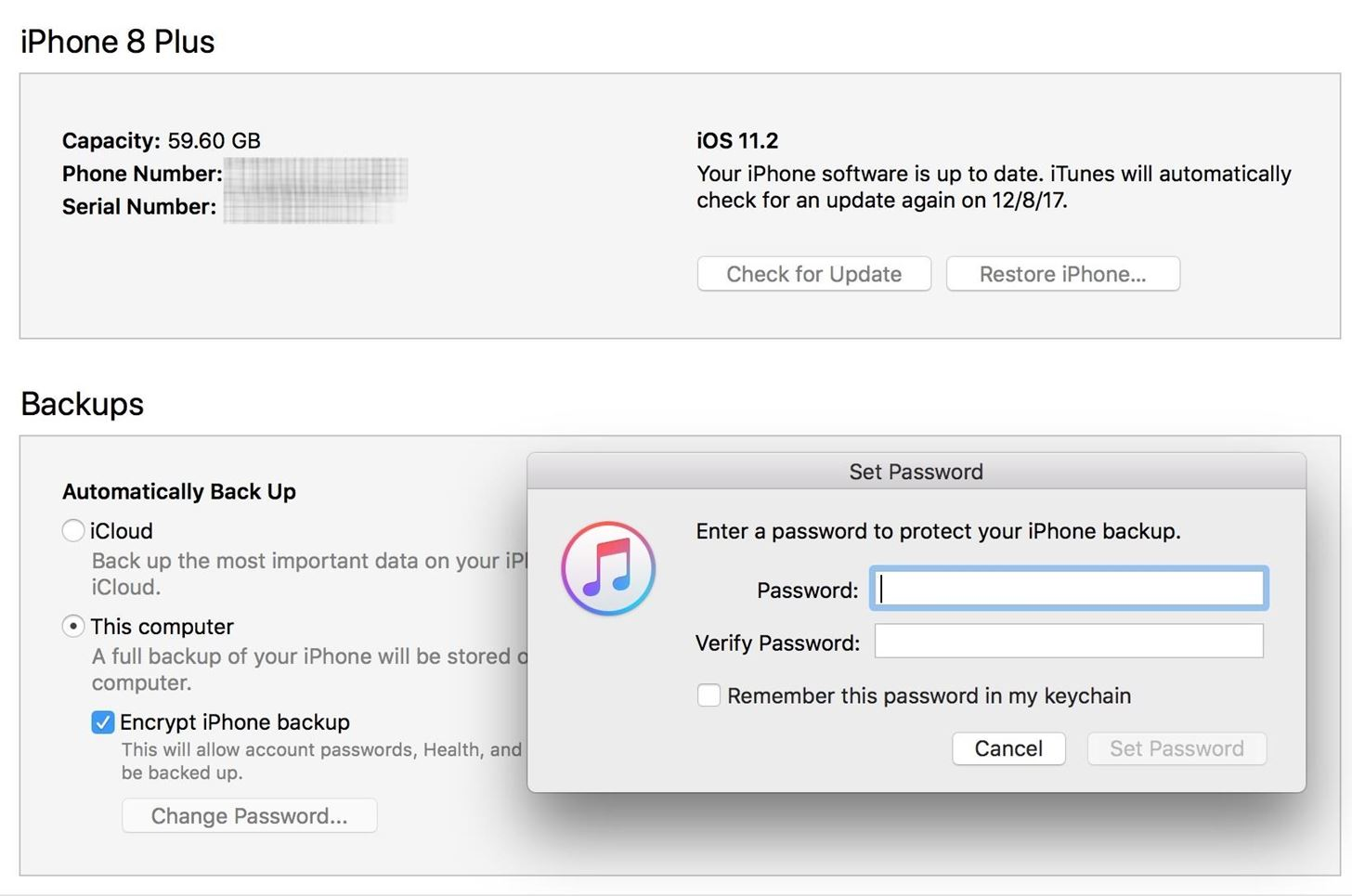 How to reset iphone backup password on itunes