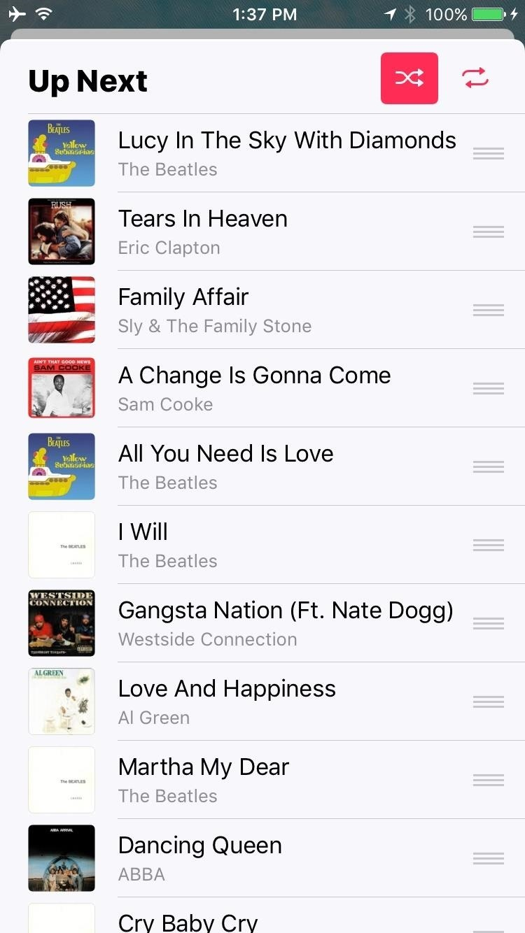 how to shuffle all songs on iphone how to shuffle all songs in apple s app in ios 10 8392