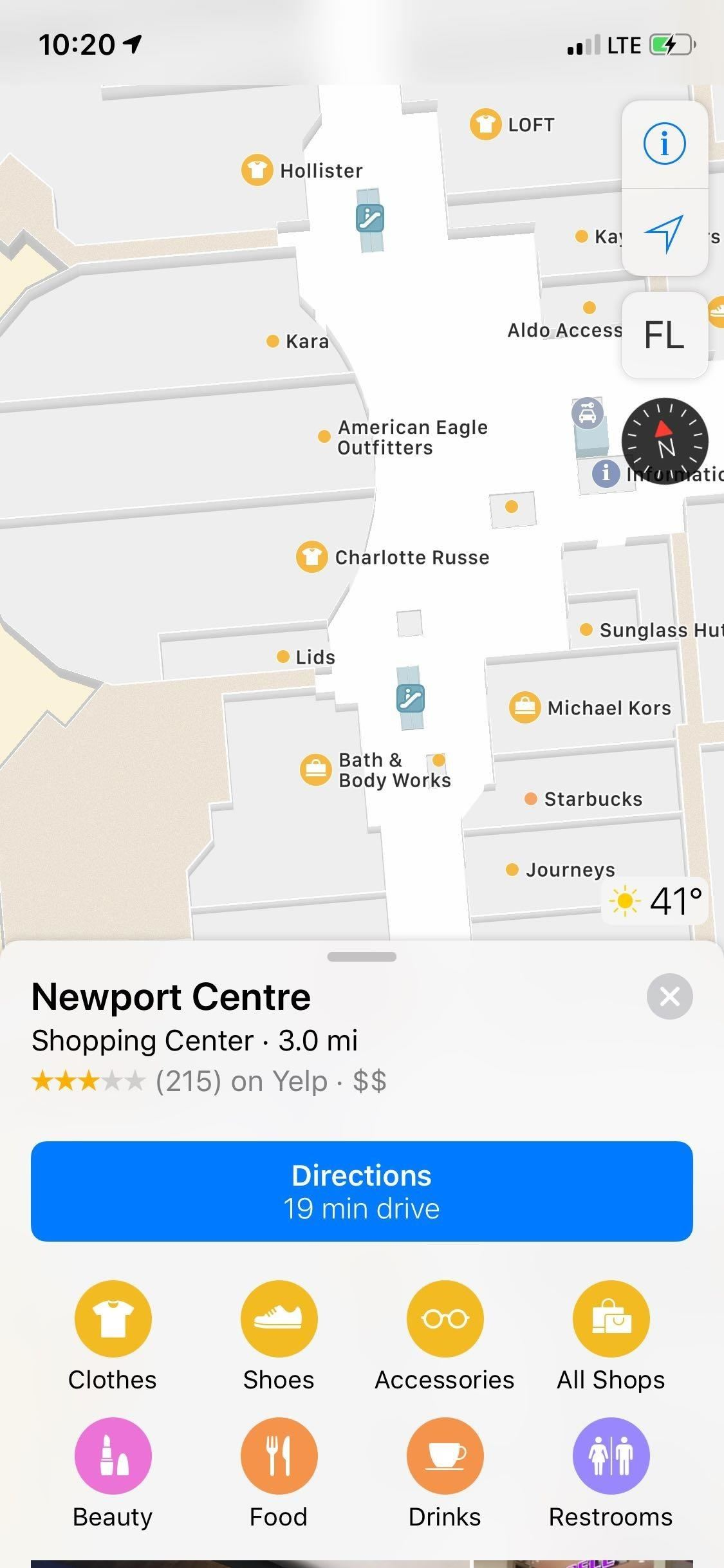 Showing indoor maps for shopping centers and airports in Apple maps