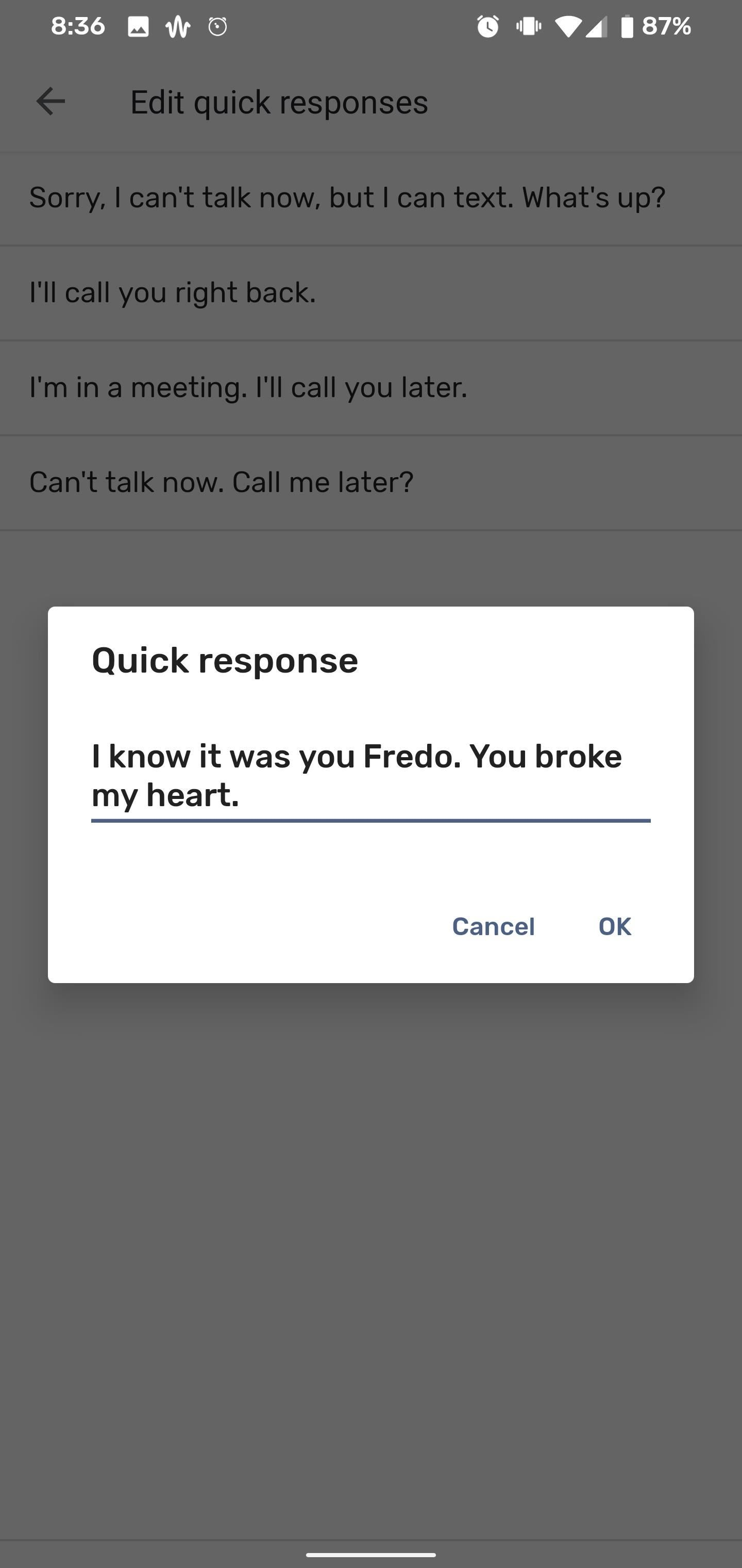 How to Customize the Quick Responses for Declining Calls in the Google Phone App
