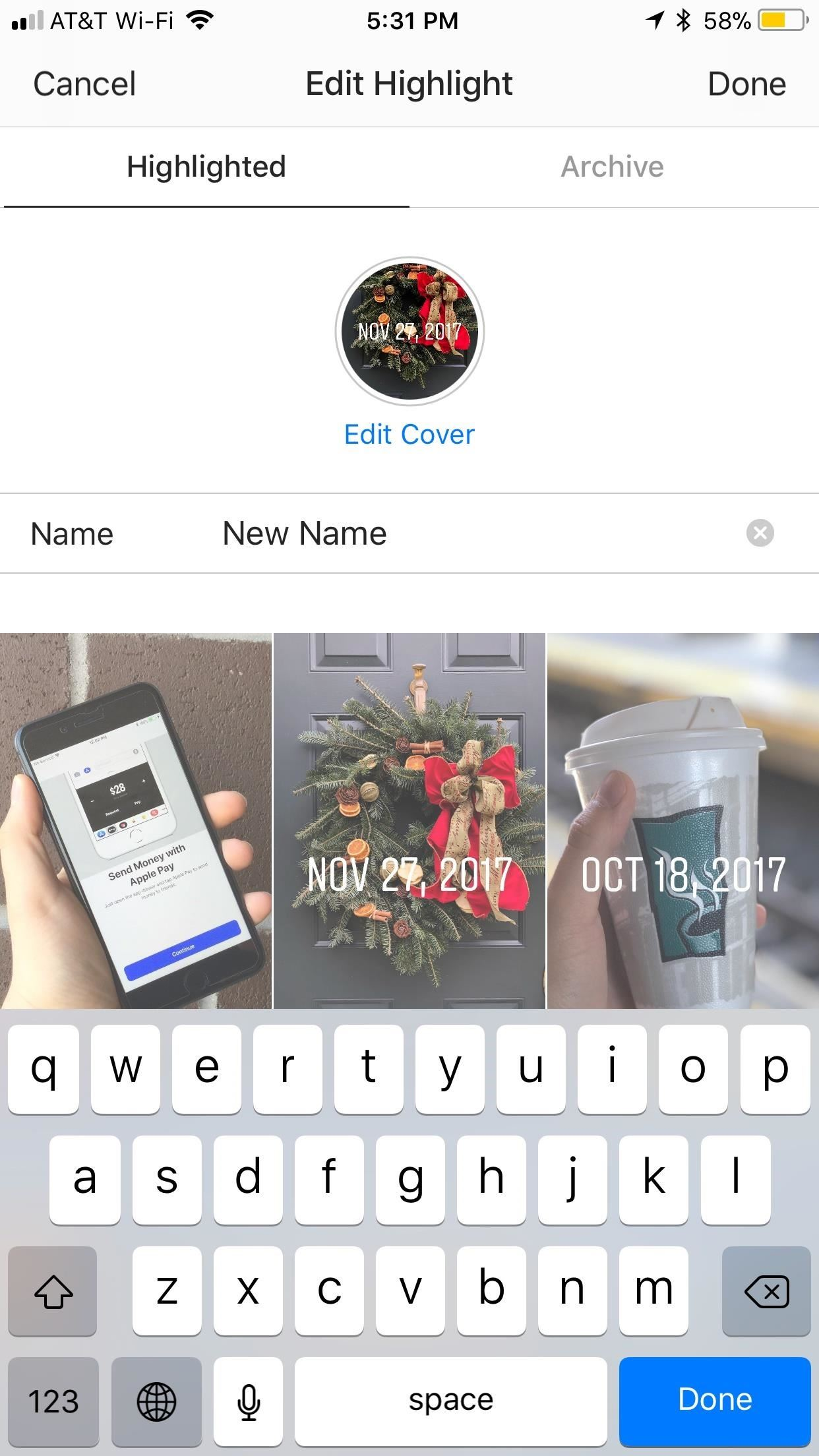 How to change cover photo on instagram story