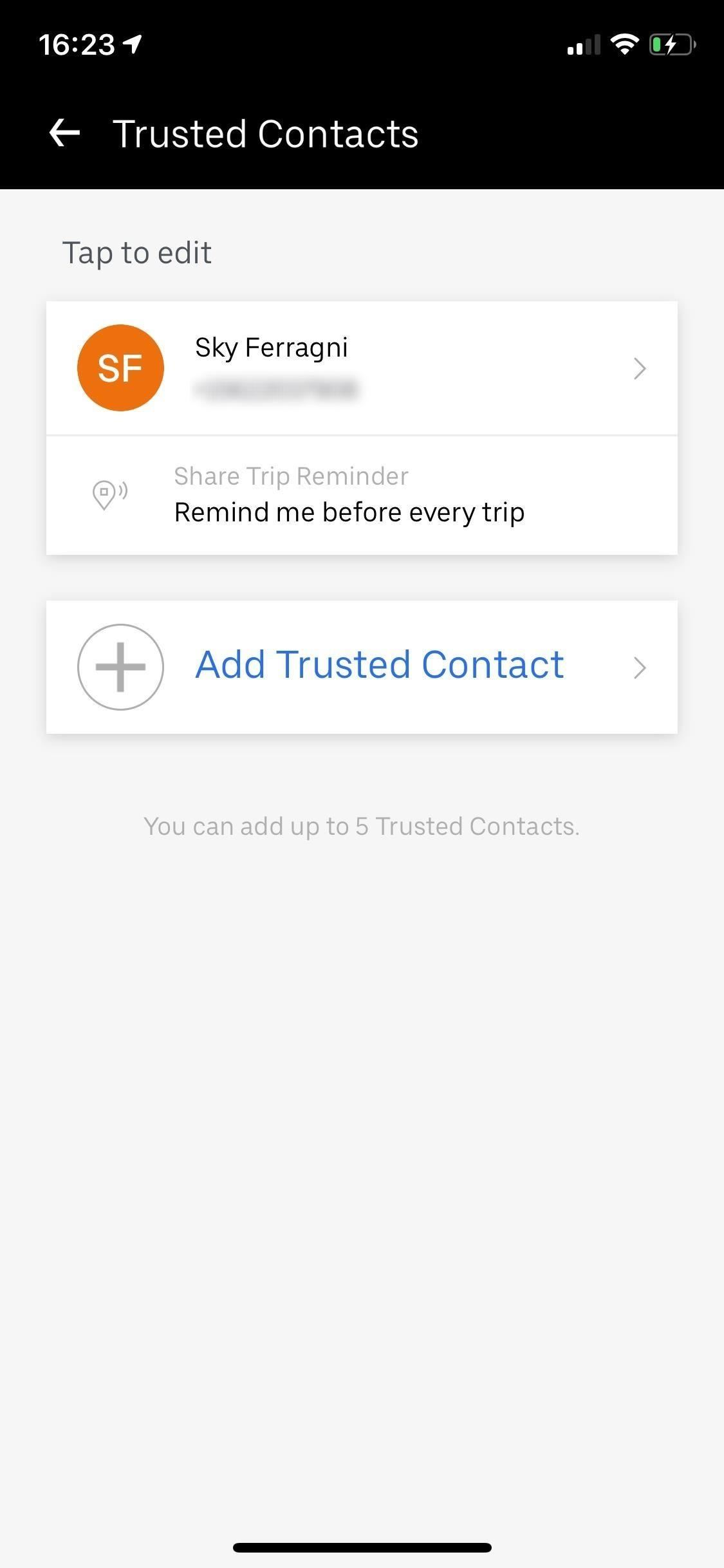 To send your Uber-Trip status to trusted contacts if you're ever in a sketchy situation