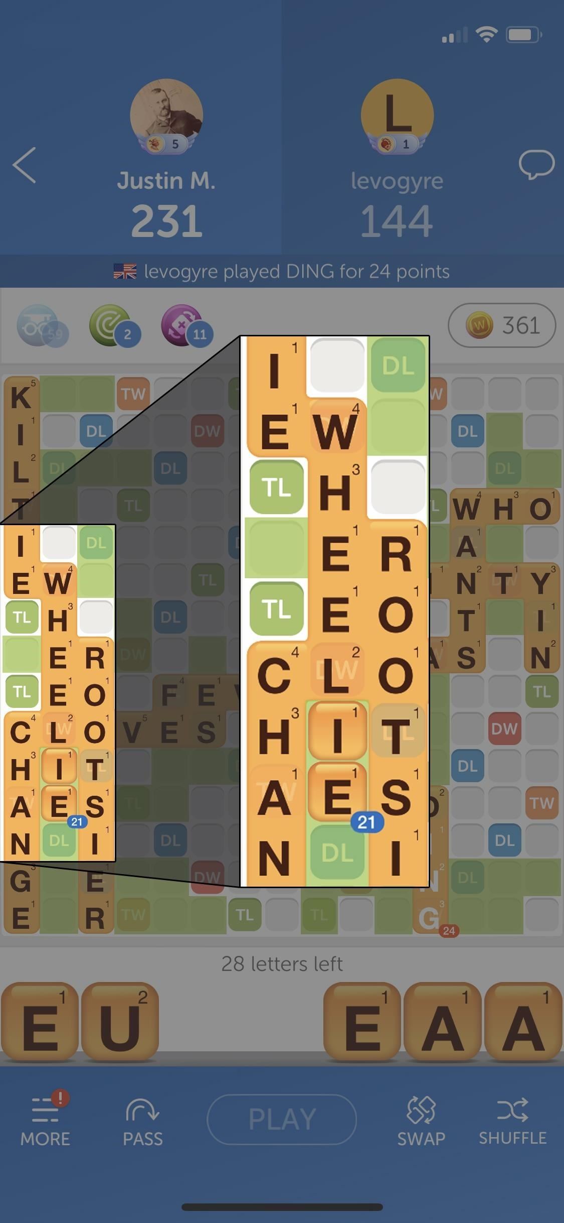 How to deal with all vowels in words with friends, without missing a round or wasting power-ups
