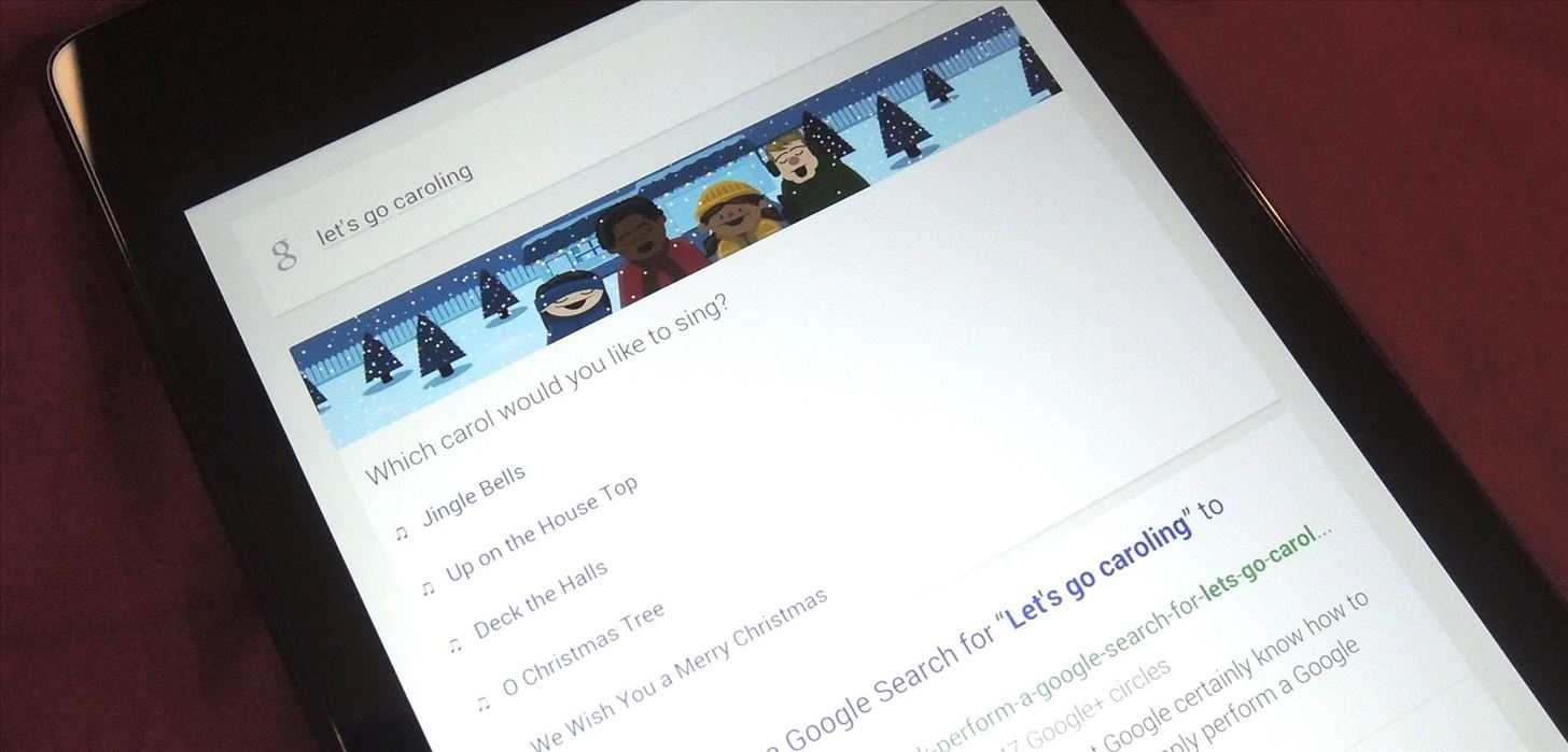 Go Caroling with Google Now's Christmas Song Karaoke Cheat Sheet for Android