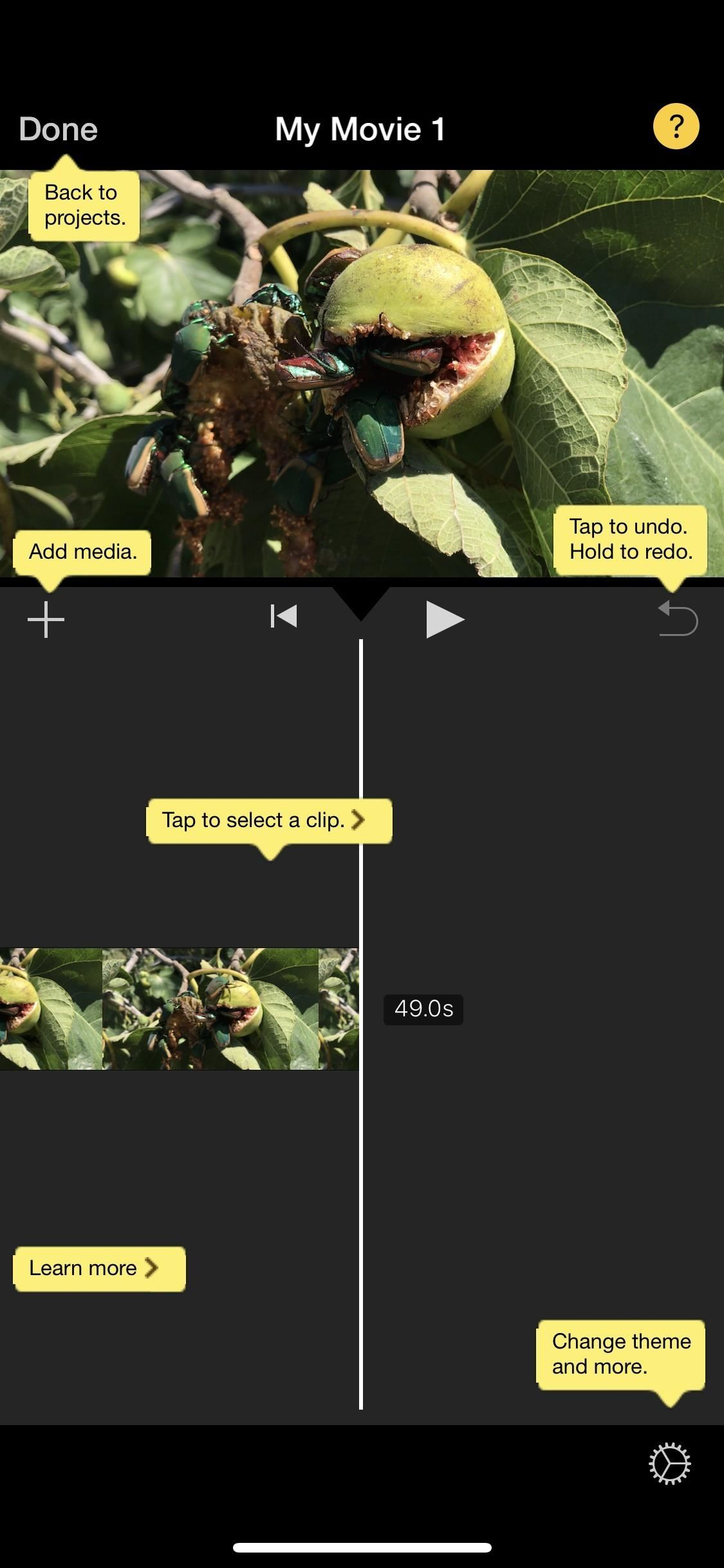 Create a new movie project in iMovie on your computer iPhone