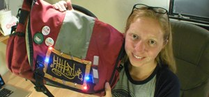 Embed lights into a backpack for safety with LilyPad