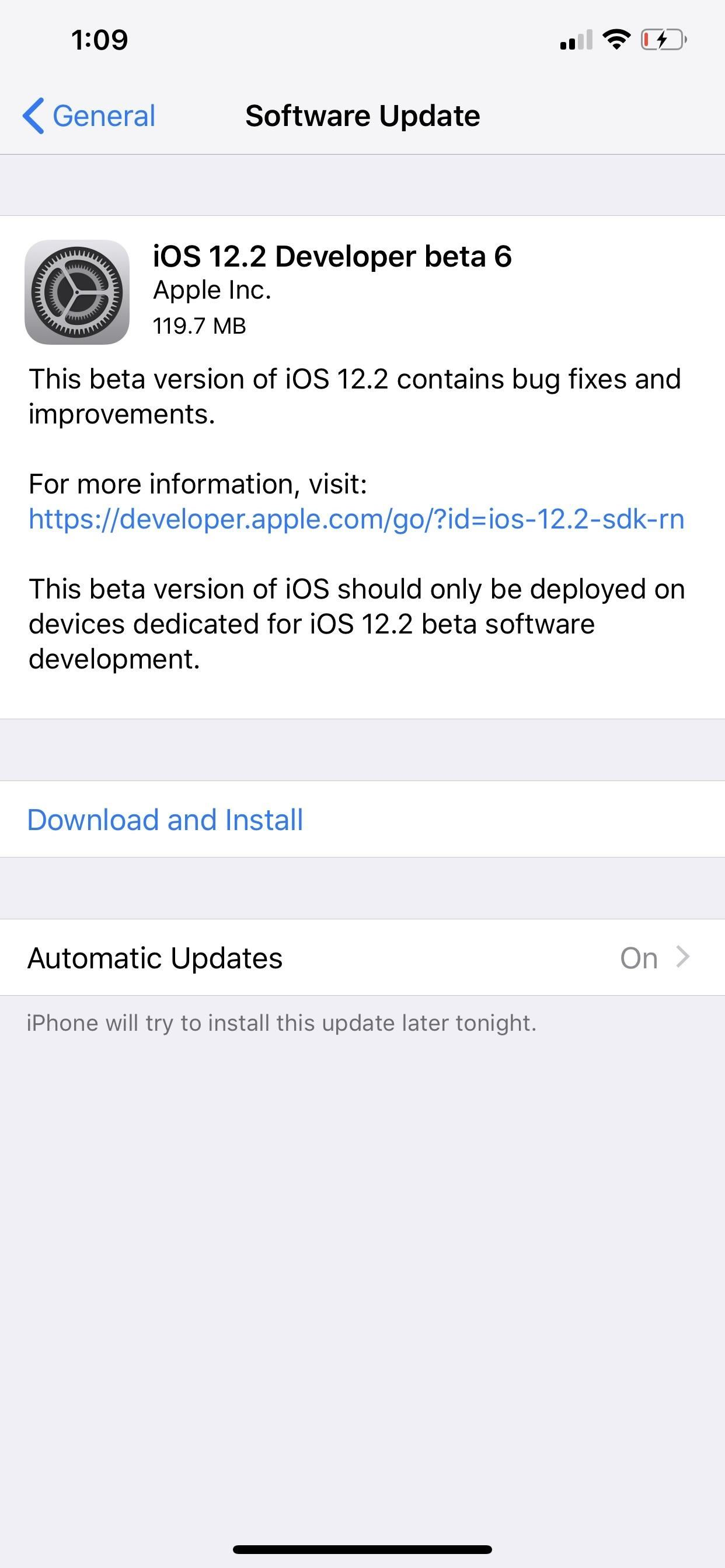 Apple has just released iOS 12.2 Beta 6 for iPhone for developers