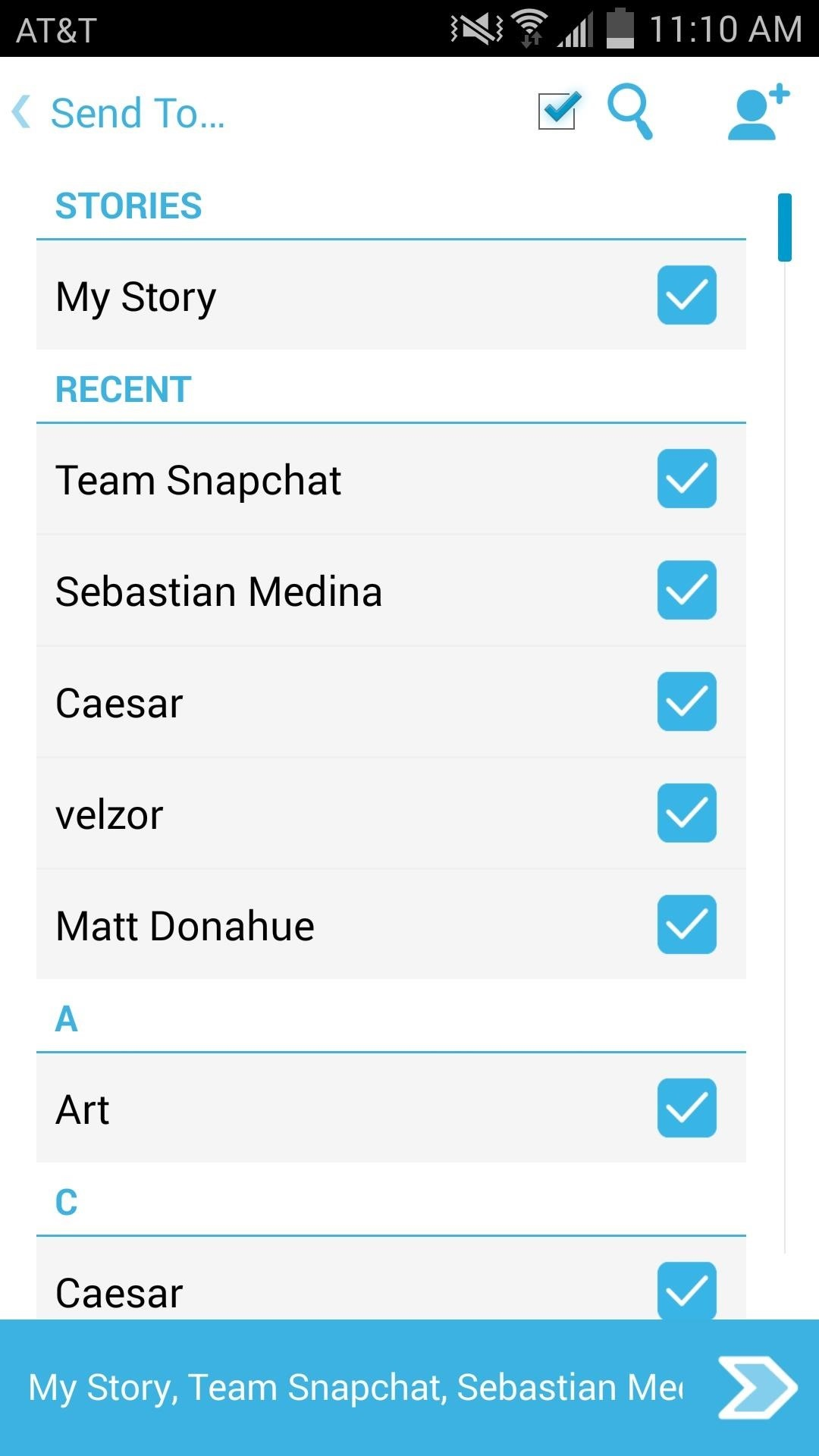 Select All Contacts with Just One Tap in Snapchat's Android App