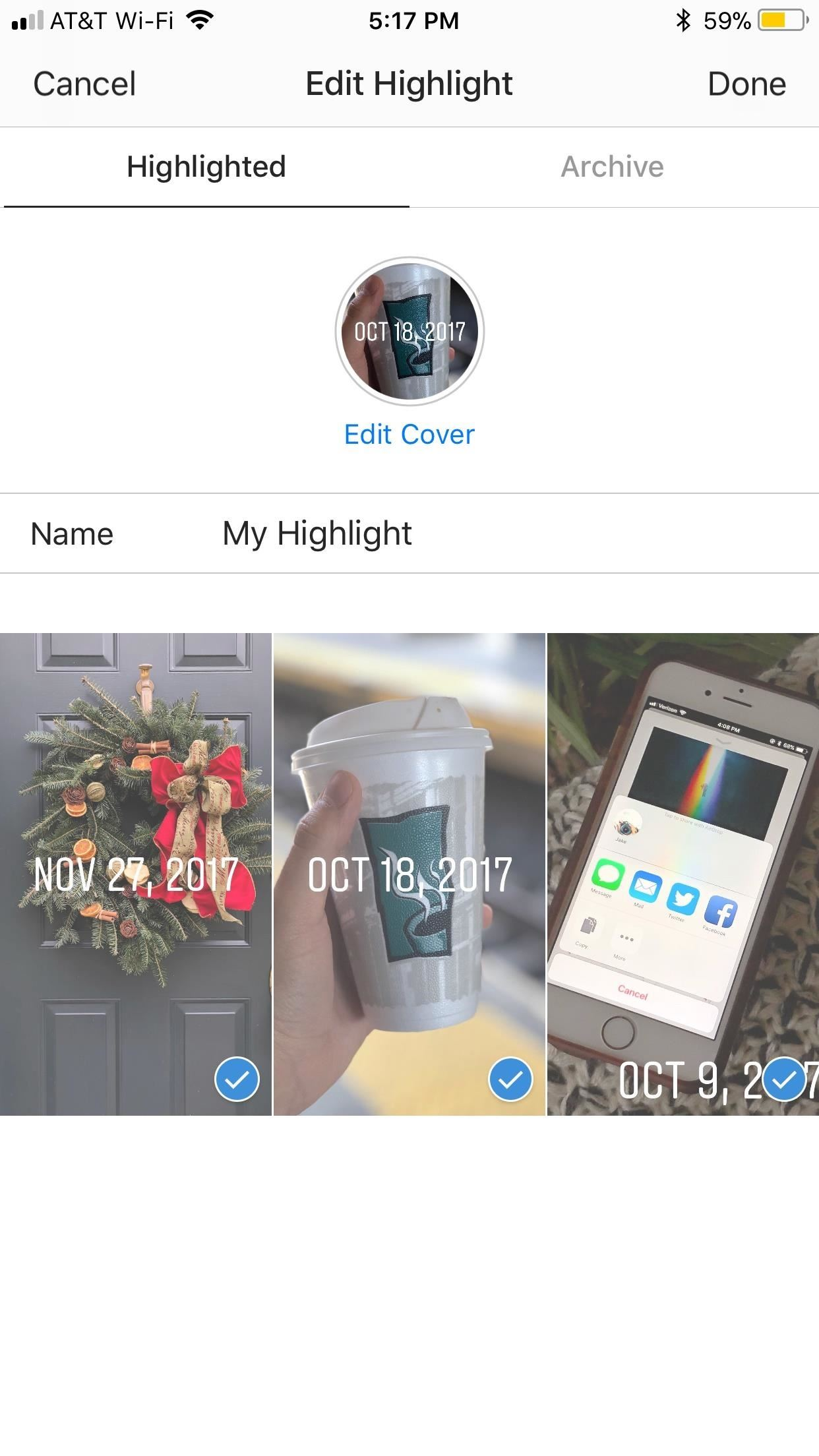 Instagram 101 how to add story highlights to your profile to add more items to your highlight just tap archive to fall back to your stories archive select or remove photos and videos just as you did when ccuart Gallery