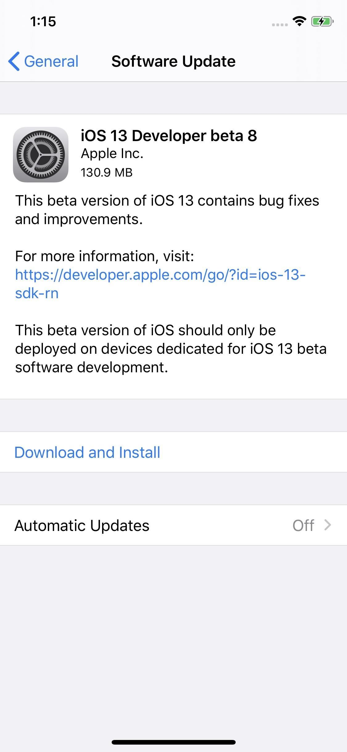 Apple Releases iOS 13 Beta 8 to Developers
