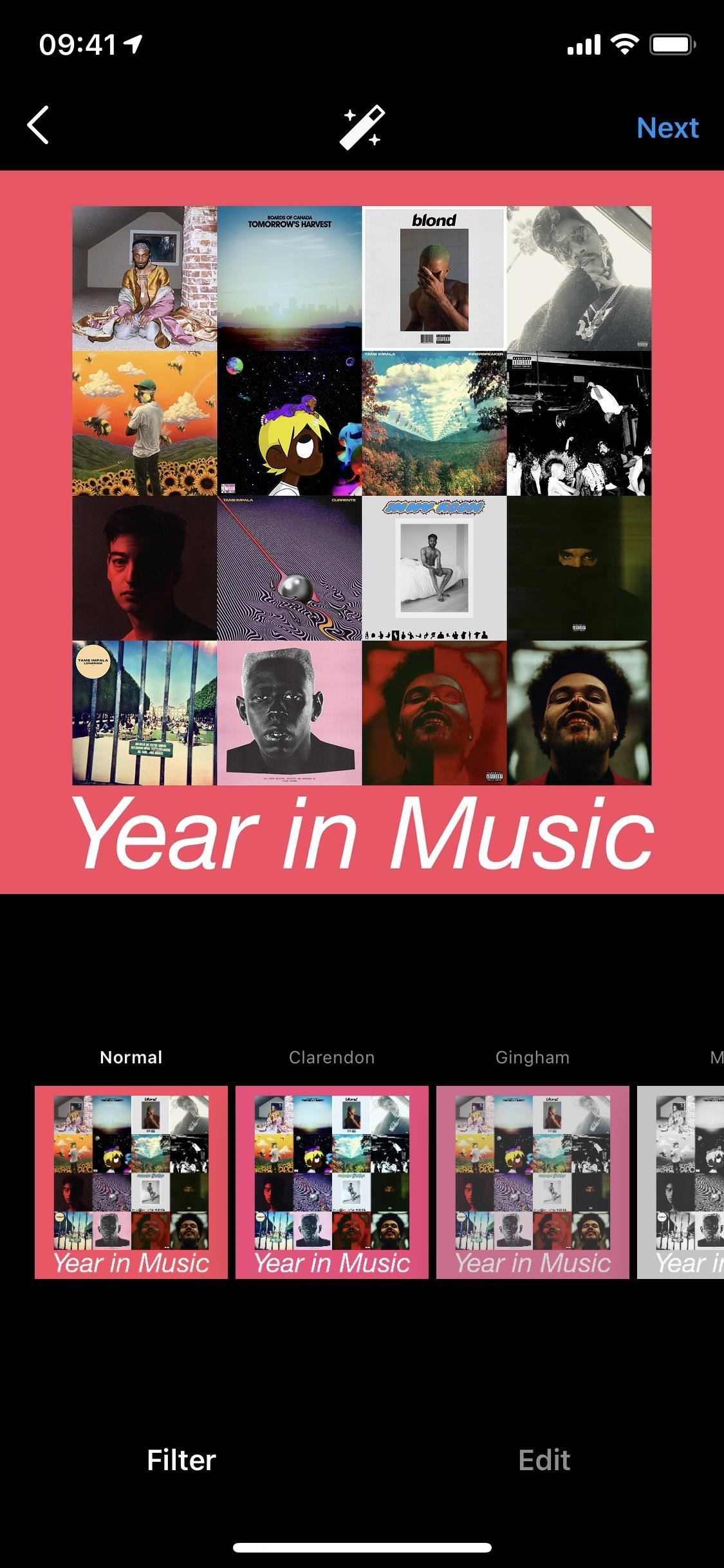 Create a 'My Year in Music' cover collage from your iPhone's music library to share on social media