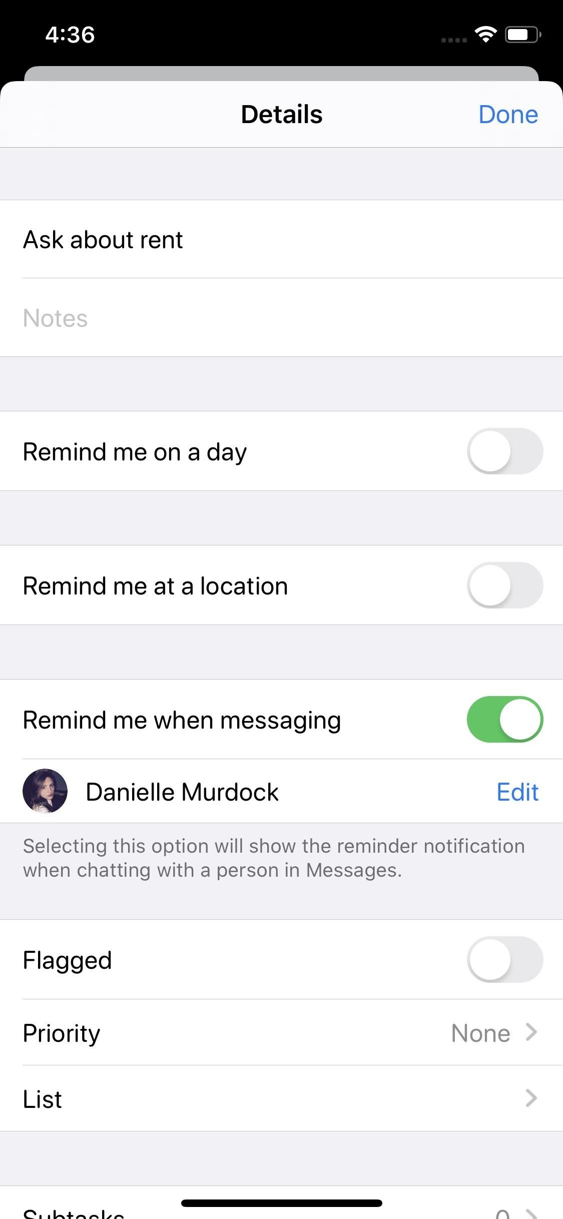 Tag People in Reminders to Get Alerts When Chatting with Them in iOS 13's Messages App
