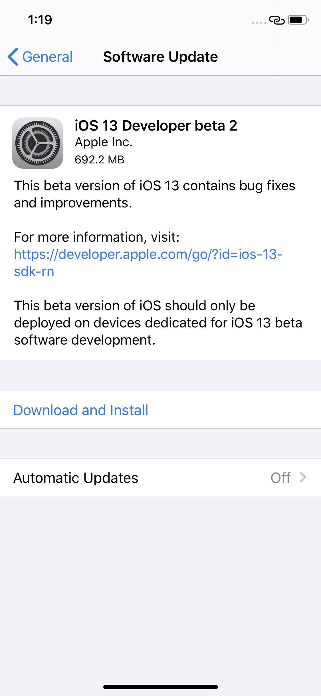 Apple releases iOS 13 Beta 2 for software developers.