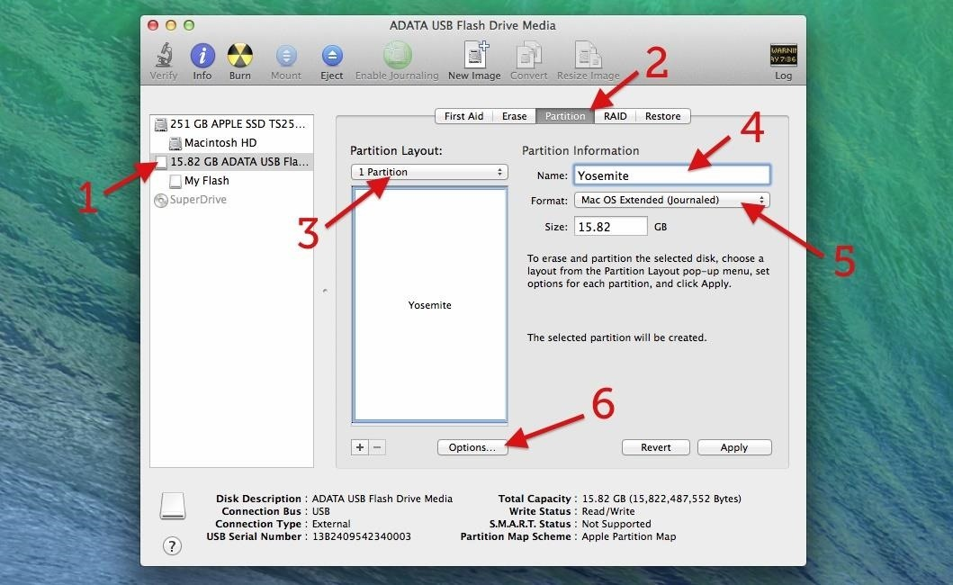 How to Create a Bootable Install USB Drive of Mac OS X 10.10 ... Select GUID Partition Table ...