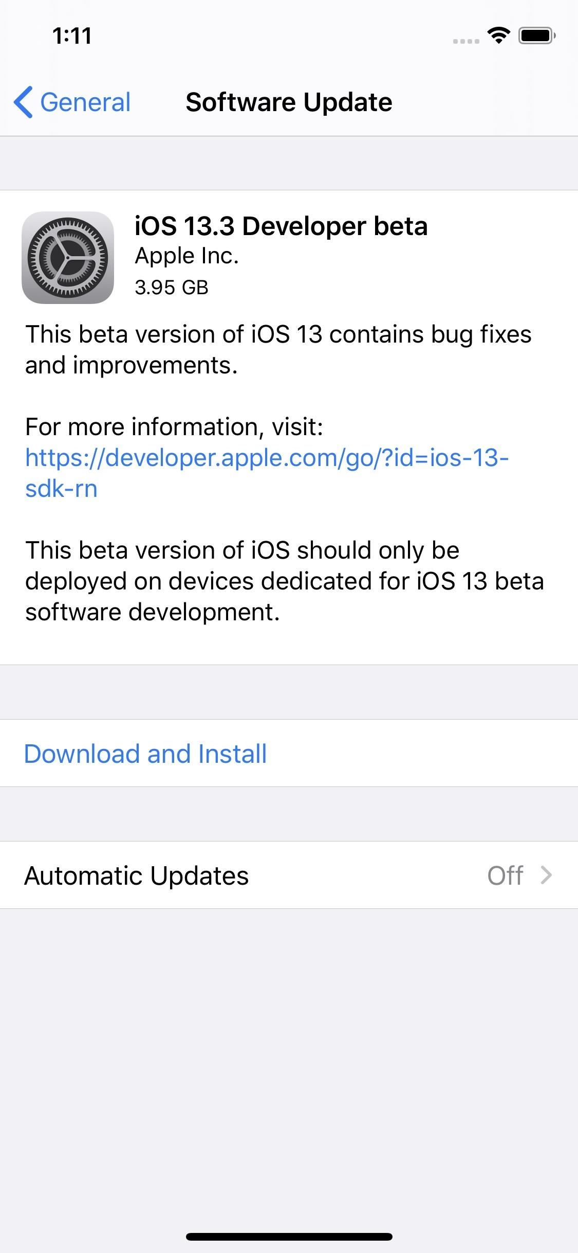 Apple releases iOS 13.3 Beta 1 for iPhone developers
