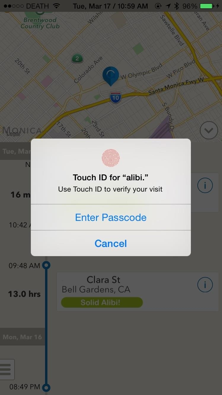 Confirm Your Location with Touch ID to Give Yourself an Alibi