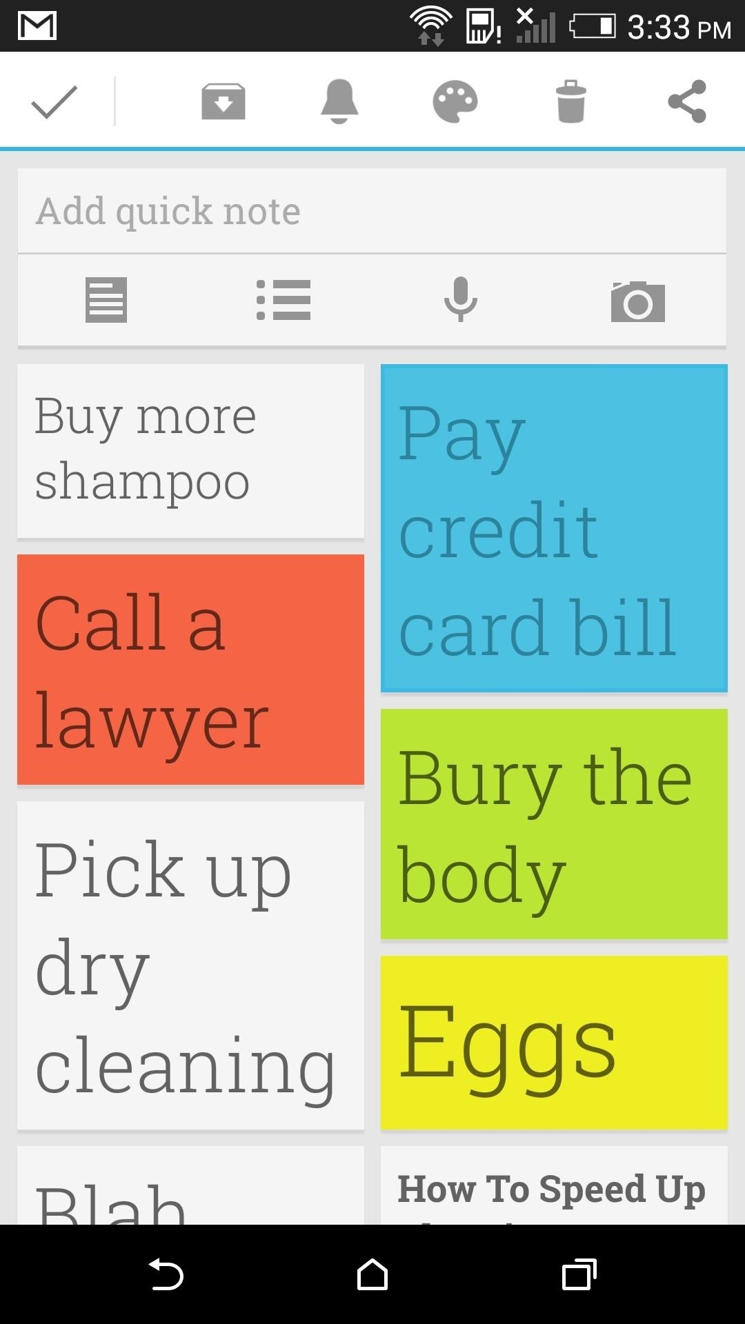 How to Change the Action Bar of Google Keep on Android for Easier Deleting & Sharing