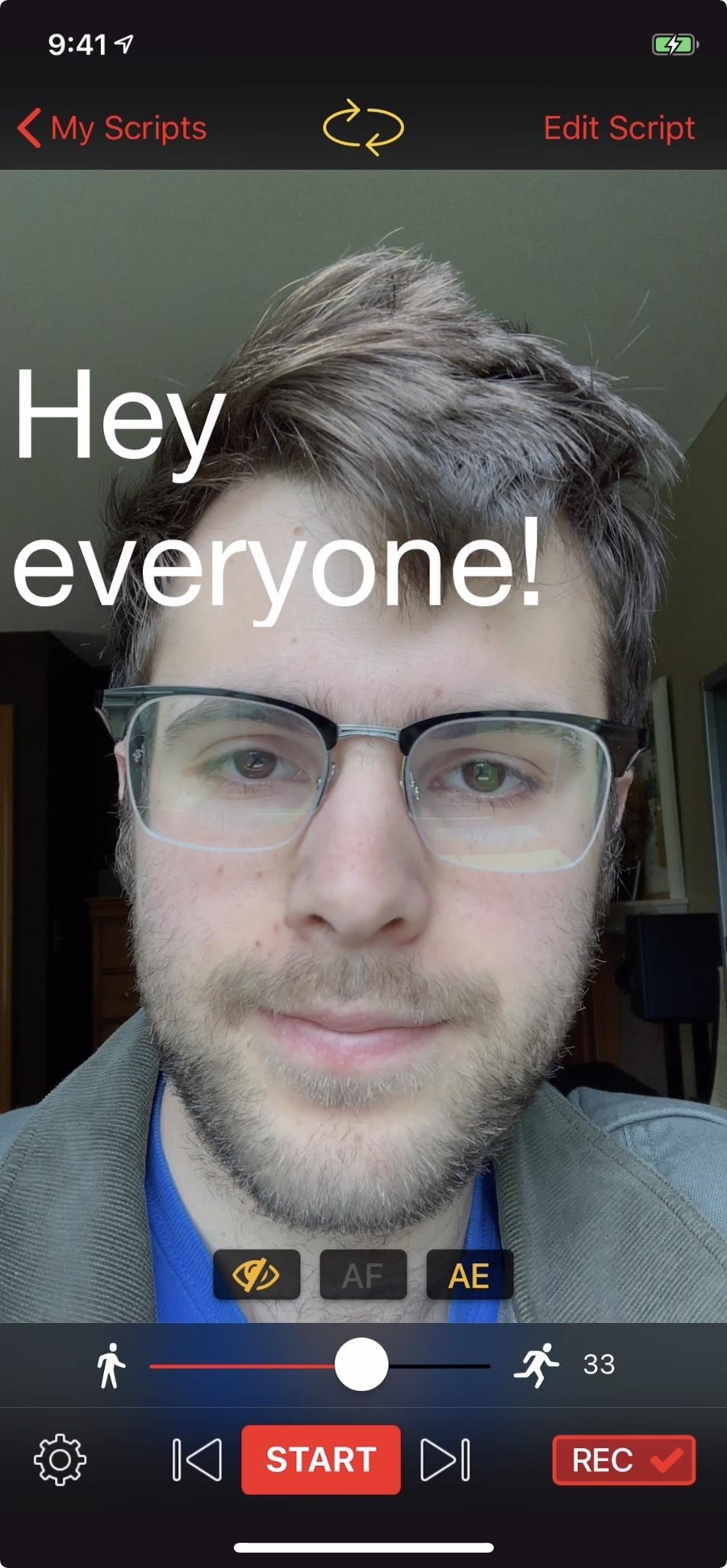 Turn your phone into a teleprompter to record self-videos without breaking eye contact