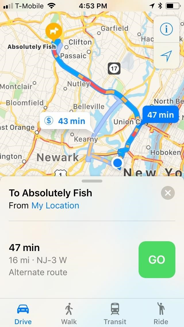 select a route then tap on the green go button or just use the hey siri feature and command siri to give you directions to your destinations
