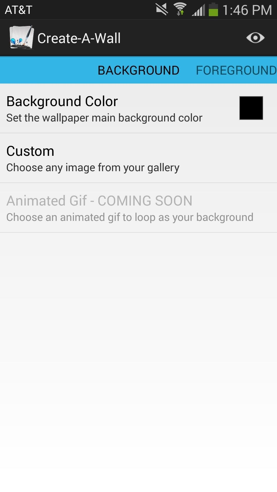 actual application where you can start customizing the wallpaper here youll be able to select a custom background either custom image or color