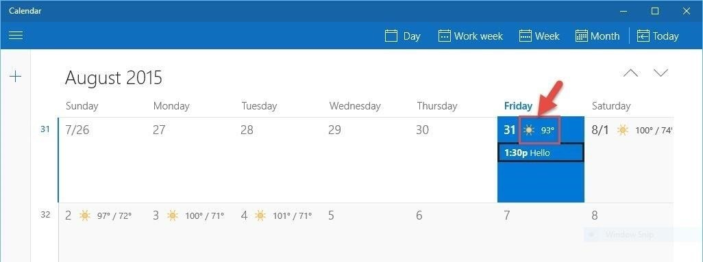 Get Daily Weather Info Right from Your Windows 10 Calendar
