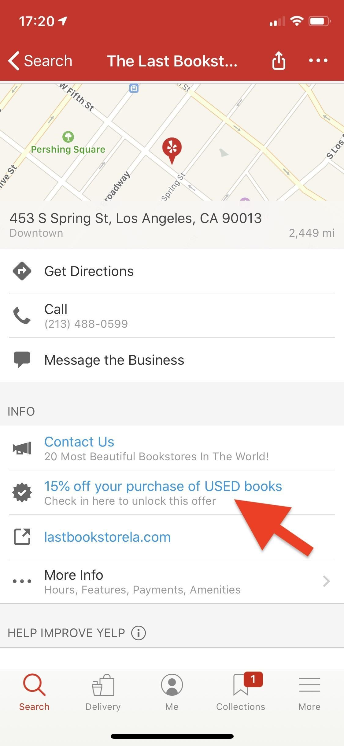 Business check-in on Yelp to receive discounts, free offers, and other coupon-like deals [19659011] Step 2: Check in to get the offer </h2> <p>  Now you have found a company that offers a check – a deal or a discount, it's time to redeem it. You have to check in to do this. This can be done in two ways: First, you can use the check-in button at the top of the list. Second, you can tap on the offer next to the checkmark. </p> <figure> <figure class=