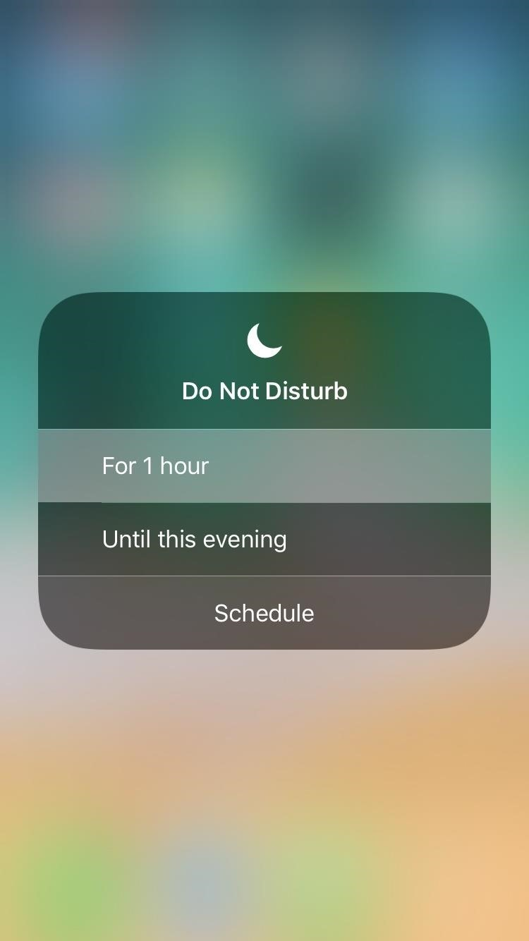 Quickly Turn on 'Do Not Disturb' in iOS 12 for 1 Hour Only
