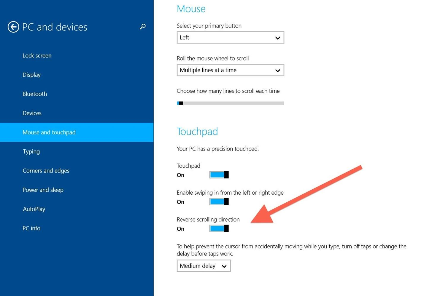 How to Reverse the Scrolling Direction on Your Microsoft Surface's Trackpad in Windows 8.1